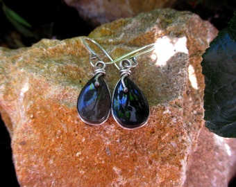 "Contemporary Earrings ""Ereskigal"" with silvery obsidian mounted on sterling silver"