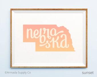 Nebraska print - Nebraska art - Nebraska poster - Nebraska wall art