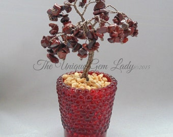 Red Poppy Jasper Wire Wrapped Tree Sculpture ~ Gemstone Crystal Healing ~ Hand Crafted Ooak