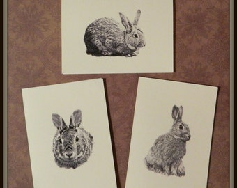 Set of 6 or 12 Handmade Blank Rabbit Bunny Print Note Cards