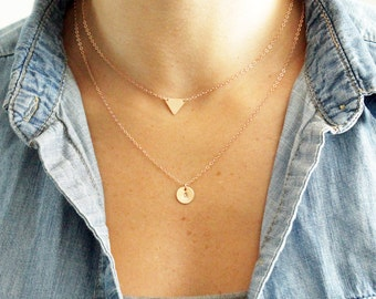 Initial Necklace, Custom Name Necklace, Triangle Necklace, Geo Jewelry, Monogram Necklace, Personalized Necklace, Bridesmaids Gift