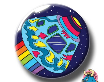 Space Capsule Badge, Outer Space Badge, Sci-Fi Badge, Science Fiction, Rainbow Badge, Pin Badge, Badge, Badges, Space Gift, Manic Minotaur.