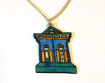 New Orleans Shotgun House in Blue and Teal – Kerlerec St. Necklace
