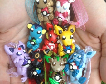 Pokemon Inspired Ornament/Necklace Eeveelutions: Eevee, Vaporeon, Jolteon, Flareon, Umbreon, Espeon, Leafeon, Glaceon and Sylveon!