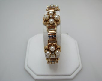 Beautiful 14k Yellow Gold Pearl and Sapphire Bracelet