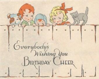 Vintage Art Deco birthday card children digital download printable image