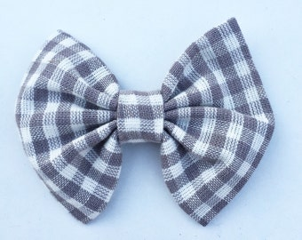 Gray Plaid  bow tie