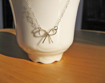 Bow Necklace, 925 Sterling Silver or 14k Gold Fill, Bridesmaid Gift, Knot The Tie, Handcrafted Bow Necklace, Delicate Jewelry, Dainty Chain