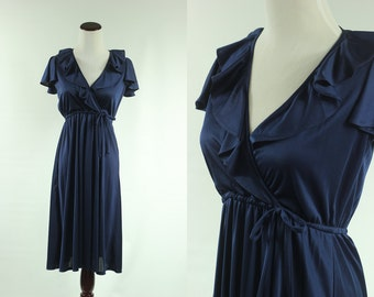 70s Midnight Blue Ruffle Babydoll Dress