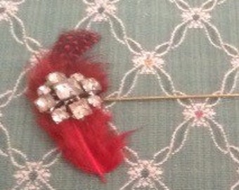 Vintage Feathered Rhinestone Hat Pin