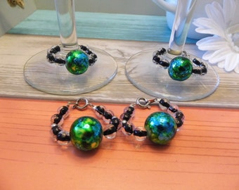 Watercolor Swirl Wine Glass Charms