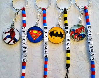 Personalised Batman keyring~Superman~Spiderman~back to school kids keyring~simple superhero gift