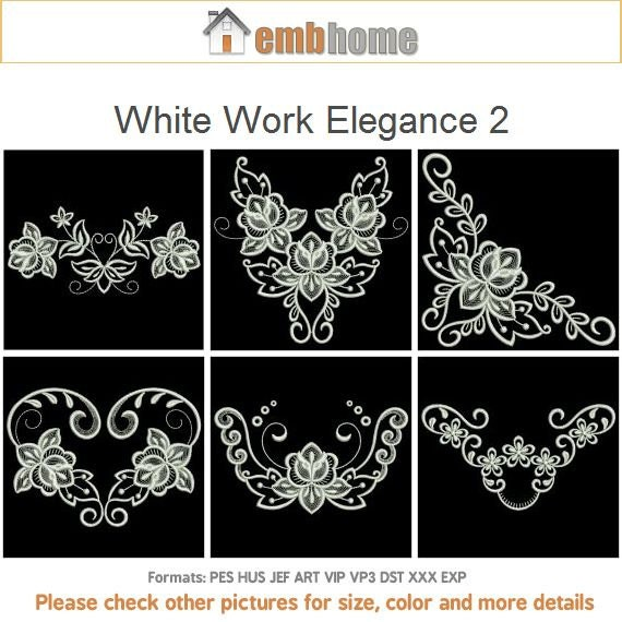 White work elegance machine embroidery designs instant
