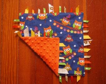 Halloween Baby Tag Blanket (Owls)