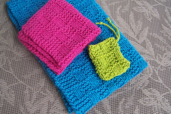 Washcloth Towelwavy Checkerboard Knit Pattern