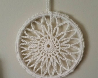 Hand Crocheted Dream Catcher with wooden beads