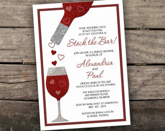 10% OFF Printed or Digital Stock the Bar Invitation Couples Shower Invitation Engagement Party Invitation Printable Wine Tasting Invitation