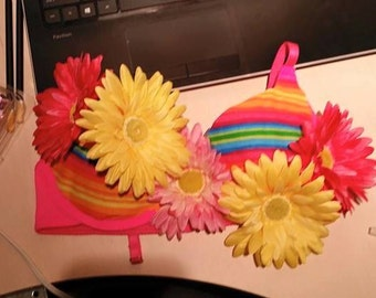 Custom made pink flower stripe top
