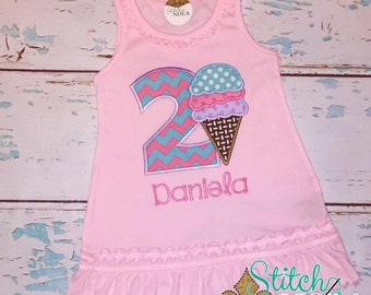 Sleeveless Summer with BIrthday Ice Cream Applique