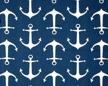 Contemporary Navy Anchor Fabric by the Yard Designer Cotton Drapery Fabric Upholstery Fabric Nautical Navy Anchor Home Decor Fabric R139