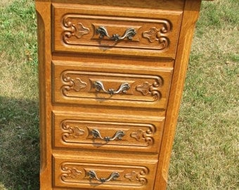 Vintage Louis XV Style Side Table Night Stand Cabinet 4 Drawers