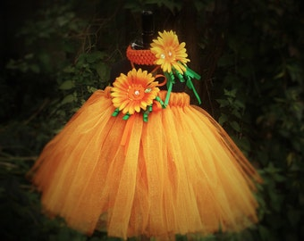 Pumpkin tutu dress, Pumkin costume,Halloween outfit,Pumpkin dress with head band 0-8 years