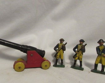 Cast Metal Revolutionary War Figures With Wood Canon, 1920's