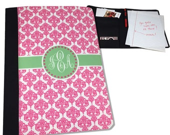 Monogrammed Notepad Holder Legal Pad Portfolio Cover Monogram Notepad Cover Personalized Notepad Organizer