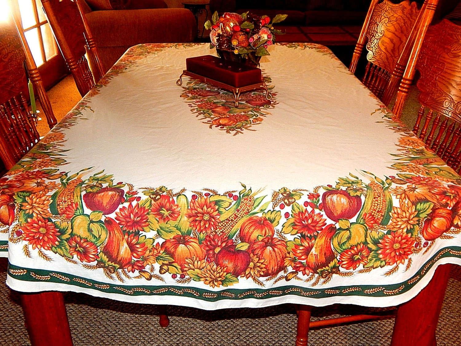 Fall Tablecloth 90 x 60 Oval Cotton Polyester
