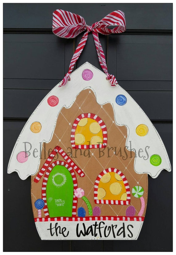 Items similar to gingerbread house christmas door hanger