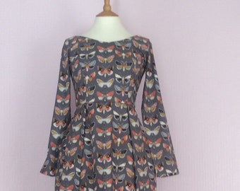 Butterfly print long vintage inspired sleeved dress