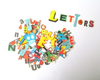 Die cut vintage letters: lucky dip pack of 150 paper letters. Vintage typography for scrapbooks, journals, smash books, craft.