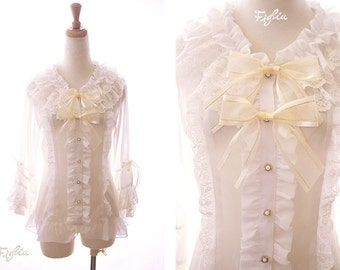 C030 Olivia princess sleeve chiffon blouse