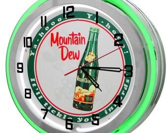 Mountain Dew Green Double Neon Clock