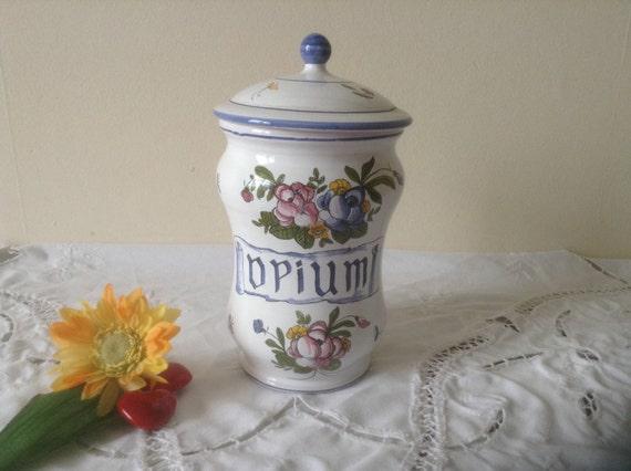 Decorative French Vintage Opium Apothecary Pharmacy Ceramic