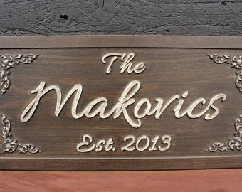 Family Name Sign Bridal Shower Gift Custom Wedding Sign Wedding Gift Personalized Carved Sign Distressed Wooden Established Sign