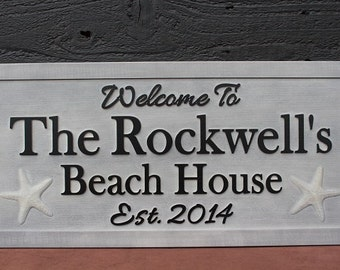 Beach House Sign Family Name Sign Distressed Carved Sign Weathered Wood Sign Personalized Sign Carved Wooden Sign Fishing Sign