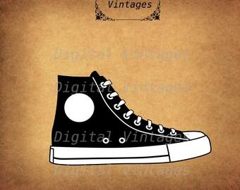 Tennis Shoe Converse Basketball Chucks Illustration Vintage Antique Digital Image Download Printable Clip Art Prints HQ 300dpi svg jpg png