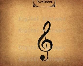 Treble3 Clef Music Musician illustration Vintage Digital Image Download Printable Graphic Clip Art Prints HQ 300dpi svg jpg png