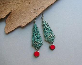 Long blue green patina red beads filigree Boho earrings - patina filigree Boho jewelry - long Boho earrings