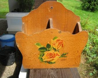 French Vintage Wooden Letter Rack.