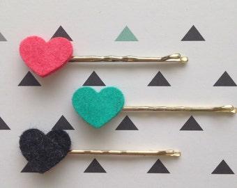 Hair clips heart (heart), Brave, 1, 5 cm wide (wide), 5, 5 cm long (lenght).