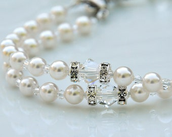 First Holy Communion Gift for Girls - Personalized Name Rosary - Swarovski Crystal White Pearls, Chalice Cross and Center -Catholic Heirloom