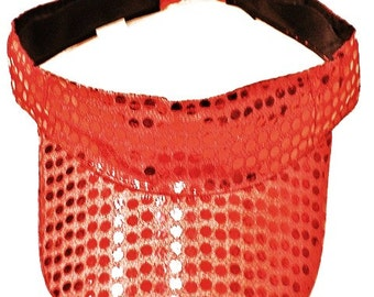 Metallic Sequin Fabric Sun Visor RED
