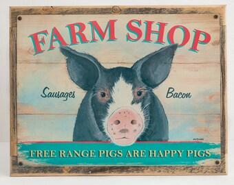 Farm Shop Pig Metal Sign  Framed on Rustic Wood, Kitchen Decor, 8011F