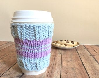 Coffee Cup Sleeve - Vegan Coffee Sleeve - Reusable Coffee Cozy - Knitted Cup Cozie - Eco-friendly Cup Cover - Blue Coffee Sleeve