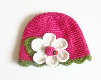Baby Girl Hat - Baby Girl Crochet Hats Baby beanie Pink baby hat Hat with flower Infant Hats Crochet baby hats