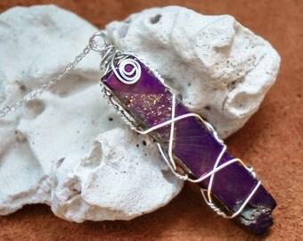 Mystic Purple Titanium Agate Pendant,Gemstone Necklace,Gemstone Pendant, Chain Jewelry,Purple Gemstone Necklace,Agate Necklace