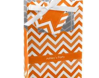 Chevron Orange Favor Boxes - Custom Baby Shower and Birthday Party Supplies - Set of 12