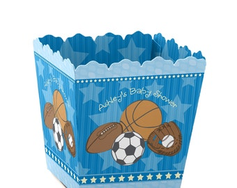 All Star Sports Custom Small Candy Boxes - Personalized Baby Shower or Birthday Party Supplies - Set of 12